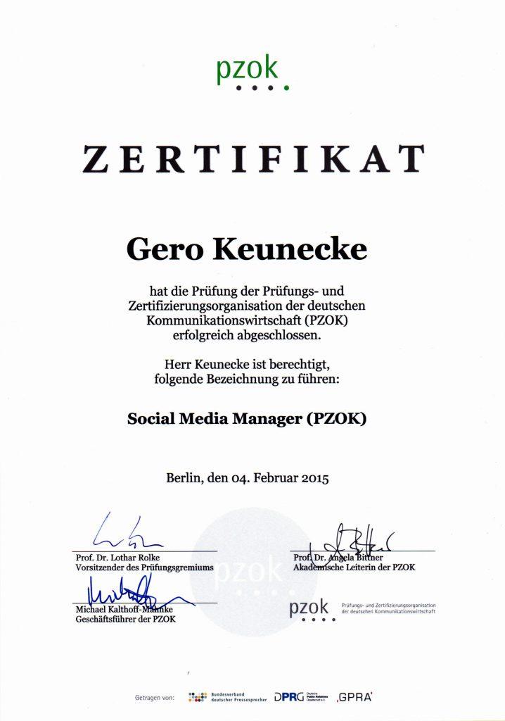 Gero Keunecke ist PZOK-zertifizierter Social Media Manager