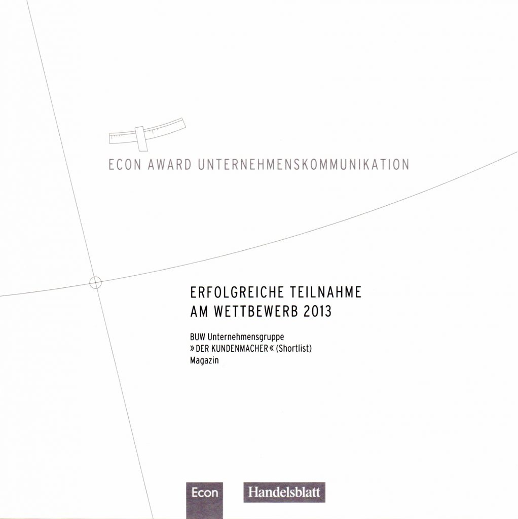 "Shortlist Econ Award 2013 Corporate Publishing ""Der Kundenmacher"" Gero Keunecke Contentakel"