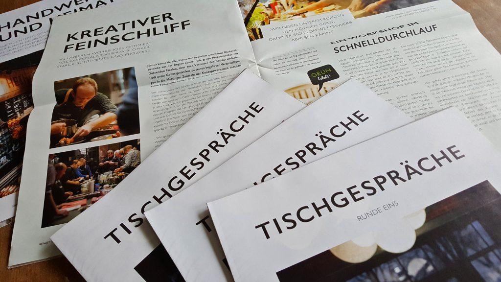 """Contentakel lieferte die Inhalte für das Printmagazin """"Tischgespräche"""" der Konzeptwerkstatt Merge in Mettingen"""